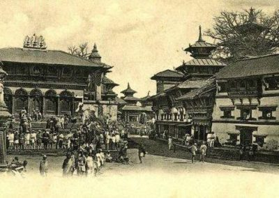 One of the oldest photo of Kathmandu Durbar Square On the right is old palace building before existing neo classical Palace (Gaddhi bhaithak) was built Unknown Date