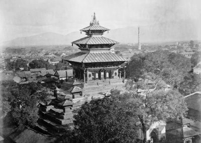 The temple of Taleju constructed in 1564 by the King Mahindra Malla, in Kathmandu Durbar Square.The Taleju temple used to be the highest construction in town, symbolizing as it did the divinity of kings.Photo by-Taylor, Clarence Comynca-1863AD