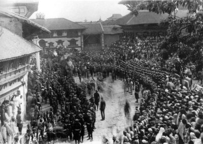 A procession on Durbar Square around the turn of the century. Themilitary uniforms date to before World War I and changed when the Gurkhascame back to Nepal. Source: Images of the Century