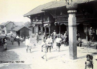 A street scene at Bhimsenthan south of Kathmandu Durbar SquareHerzog and Higgins1901AD