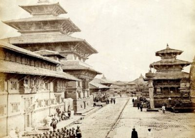 A very old photo of Patan Durbar Square from North Photograph by:Johnston and Hoffman, ca 1883AD