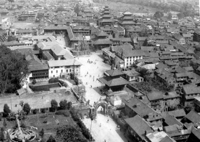 Aerial view of Bhaktapur Durbar square with the Nyatapol Temple andHanumante river in Background ca-1973AD