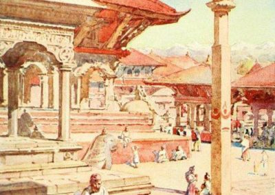 Artist's vision of Patan Durbar Square in around 1920iesTaken from the book 'Nepal' by Perveval LandonPublished 1928AD