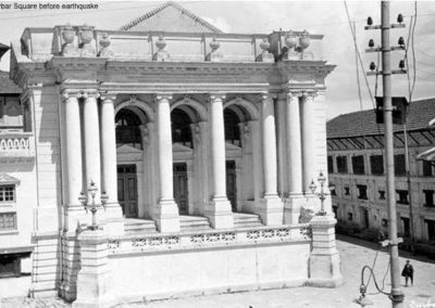 Basantapur Durbar Square before the Great Earthquake of 1934. Note the building next to the Kumari Ghar which is now Basantapur DabaliSource: Vintage Maru