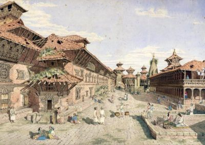 Bhaktapur Darbar Square before the subsequent brief restoration Oldfield, Henry Ambrose 1853AD