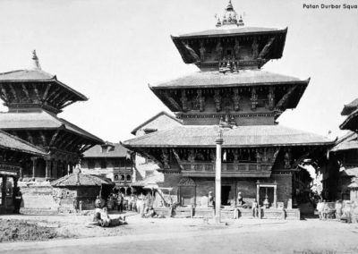 Bhimsen Temple on the northern rim of Patan Durbar Square. Built by King Shrinivas Malla in the early 1680s, it features exquisite carvings that still remainPhotographed by Colin Murray 1870AD