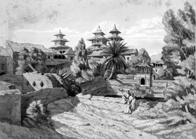 Drawing of the garden at the rear of the Patan Durbar Square