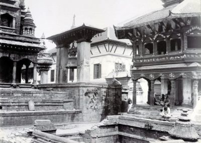 Durbar Square showing the Taleju Bell and the octagonal pavilion of the Chyasilin Mandapa Herzog and Higgins ca-1901AD