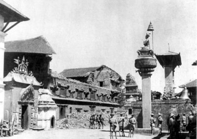 Following the earthquake in 1934AD, most of the palaces and the temples of the Bhaktapur Durbar Square laid on ruins Source: Images of the Century-The Changing Townscapes of the Kathmandu Valley
