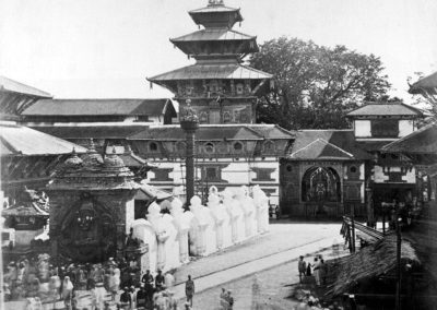 Hanuman Dhoka Palace during Indra Jatra festival in 1863AD taken by Captain DJ Morris. While the popular Kaal Bhairav image is on fore ground, on the background is the usually hidden large image of Swet Bhairab. Built by king Rana Bahadur Shah, it remains