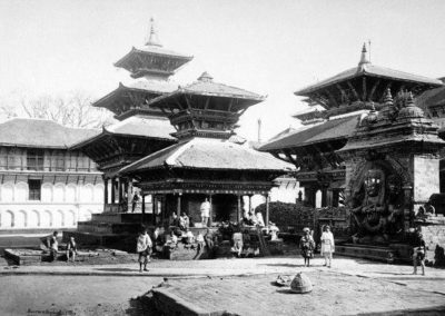 Kal Bhairav and surrounding during 1870iesOne of the earliest photos taken of Nepal Bourne and Shepherd Source: Kathmandu Valley Preservation Trust