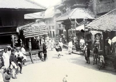 Maru Tole in BasantapurThe small temple in the background is Maru Ganeshthan, a temple without pinnacleOn the left is the part of KastamandapHerzog and Higgins1901AD