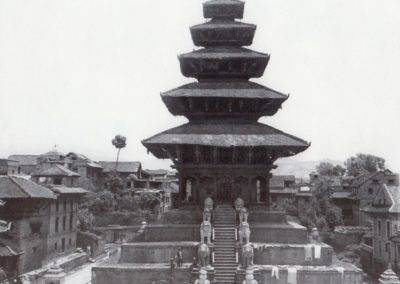 Nyatapola Temple in the Taumadi Square in 1950ies Source: Himalayan Bank Limited Calender