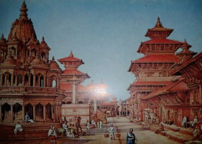 "Painting of Patan Durbar Square done in around 1886-93ADTaken from the book ""'Voyage Au Nepal.""Contributed by: Vibhav Pradhan"