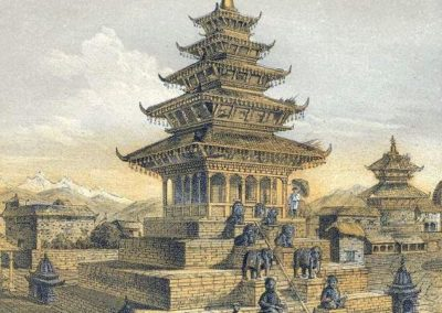 Painting of Taumadi Square & Nyatapola Temple in Bhaktapur From- History of Nepal-Daniel Wright, 1877AD
