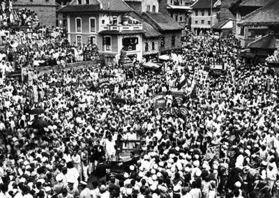 Parade in Taumadhi Square welcoming the expedition team that conquered Mount Everest. Mid 50ies