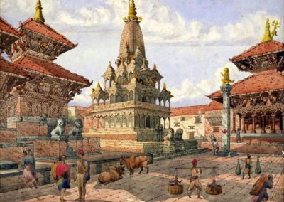 Patan Durbar Square from South-EastWatercolor by Henry Ambrose Oldfield, ca. 1855AD