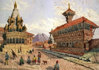 Patan Durbar Square from WestWatercolor by Henry Ambrose Oldfield, ca. 1855AD