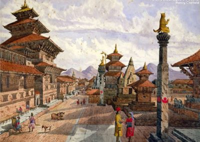 Patan Durbar Square from the NorthPatan Darbar Square is one of the most represented place in arts among the Palaces of NepalWatercolor by Henry Ambrose Oldfield, ca. 1855AD