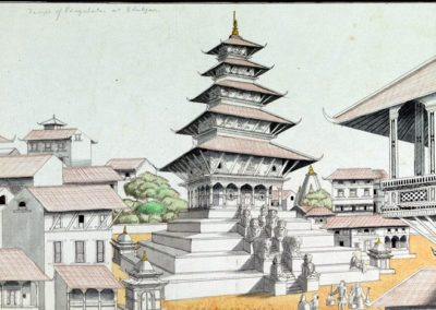 Pencil, wash and watercolour drawing of the five-tiered Nyatapola temple at Bhaktapur,  part of the Lawrence collection created by an anonymous artist,  c. 1843-1846AD