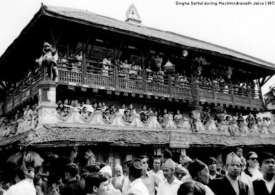 Singha Sattal during Seto-Machhindranath Jatra in 1973ADToday this building located in Kathmandu Durbar Square Source and Copyright: Tod Ragsdale