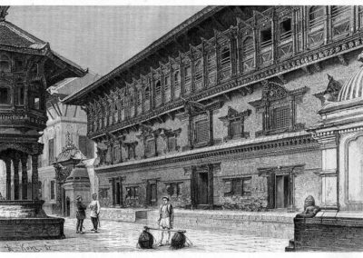 "Sketch of 55 windowed palace in Bhaktapur Durbar Square by aus Gustav Le Bon: ""Voyage au Népal"", in 1885AD"