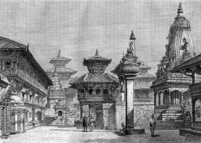 "Sketch of Bhaktapur Durbar Square as it was in 1885ADby )aus Gustav Le Bon: from the book ""Voyage au Népal"","