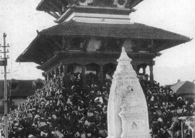 The Maju Dega (dedicated to Vishnu) temple on Durbar Square during a festive occasion before the earthquake. Built in 1692AD on a nine-step brick base, it features beautifully carved wooden doorways, windows, pillars and strutssource- Images of the centu