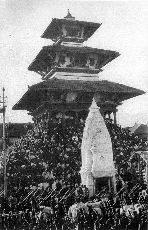 The Maju Dega (dedicated to Vishnu) temple on Durbar Square during a festive occasion
