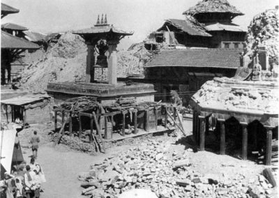 The destruction that occurred during the earthquake to Patan Dubar Square around the Taleju Bell