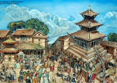 The painting details out the daily chores of people during morning time around the Jaishidewal (जैसीदेवल) temple located located towards south of the Kathmandu Durbar Square, Rest-houses, pavilions and cross-roads which were the part of the