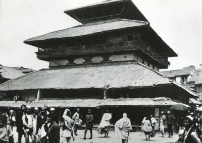 The three storeyed Kastamandap Sattal believed to be built from wood of a single tree . It houses an image of Gorakhnath at the center of the ground floor. Photo by: Johannes Bornmann taken in 1952AD