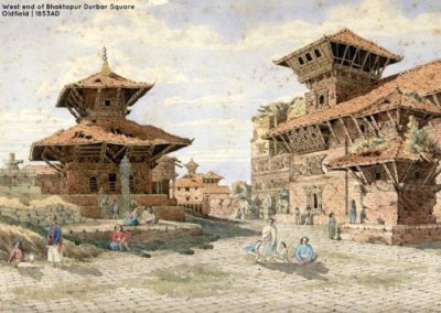 W. end of the Bhaktapur Durbar Complex painted in 1853AD After the valley was taken by Shah Kings and trade with Tibet was stopped due to dispute Bhaktapur went into decline until the 'Bhaktapur development Project' revived the town Oldfield, Henry Ambrose 1853AD
