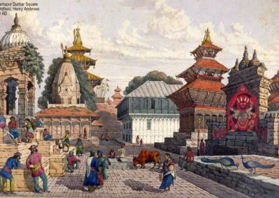 Water color of Basantapur Durbar Square showing the image of Kaal Bhairab with Taleju and Hanuman Dhoka Durbar in BackgroundThis picture was painted in 1858AD by Henry Ambrose Oldfield.His pictures are regarded as accurate reflection of the past.Two
