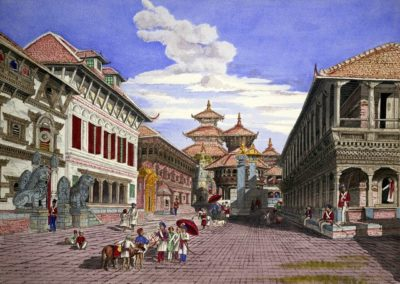 Watercolour of Bhaktapur Durbar Square from west after restoration Oldfield, Henry Ambrose 1858AD