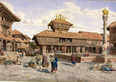 Watercolour of Bhimsen Temple around Dattatraya Square in Bhaktapur Oldfield, Henry Ambrose 1853