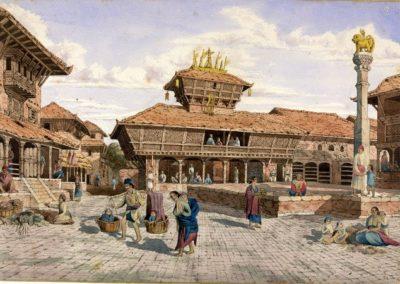 Watercolour of Bhimsen Temple around Dattatraya Square in BhaktapurOldfield, Henry Ambrose 1853