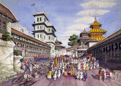 Watercolour of Kot (the military council-chamber) in the Durbar Square during Dashain showing the killing of buffalowsOldfield, Henry Ambrose 1856