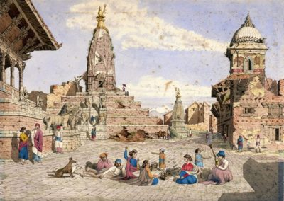 Watercolour of Temple of Jyotirlingeshwara Mahadev near the Bhaktapur Durbar Square Oldfield, Henry Ambrose ca 1853