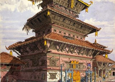Watercolour of the Aksash Bhairab temple on the Tamaudi square Oldfield, Henry Ambrose 1852