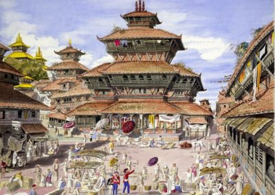 Watercolour of the Basantapur