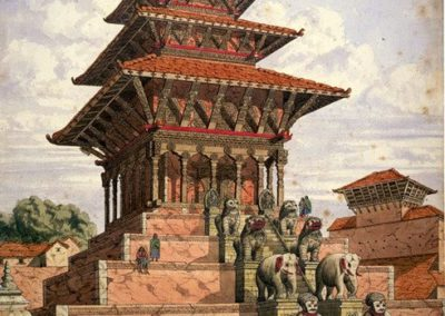 Watercolour of the Nyatapola Temple at Bhaktapur Oldfield, HenryAmbrose 1854AD