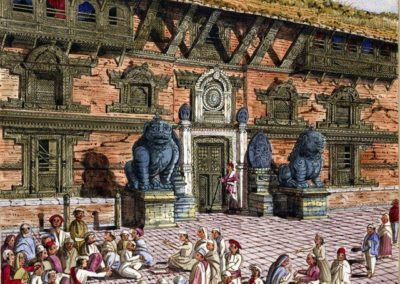 Watercolour of the entrance to the Chumalee Chowk in the Bhaktapur DurbarSquare Oldfield, Henry Ambrose 1856AD