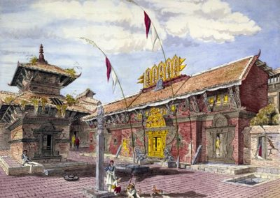 Watercolour of the temple at the base of Taleju Oldfield, HenryAmbrose 1857AD
